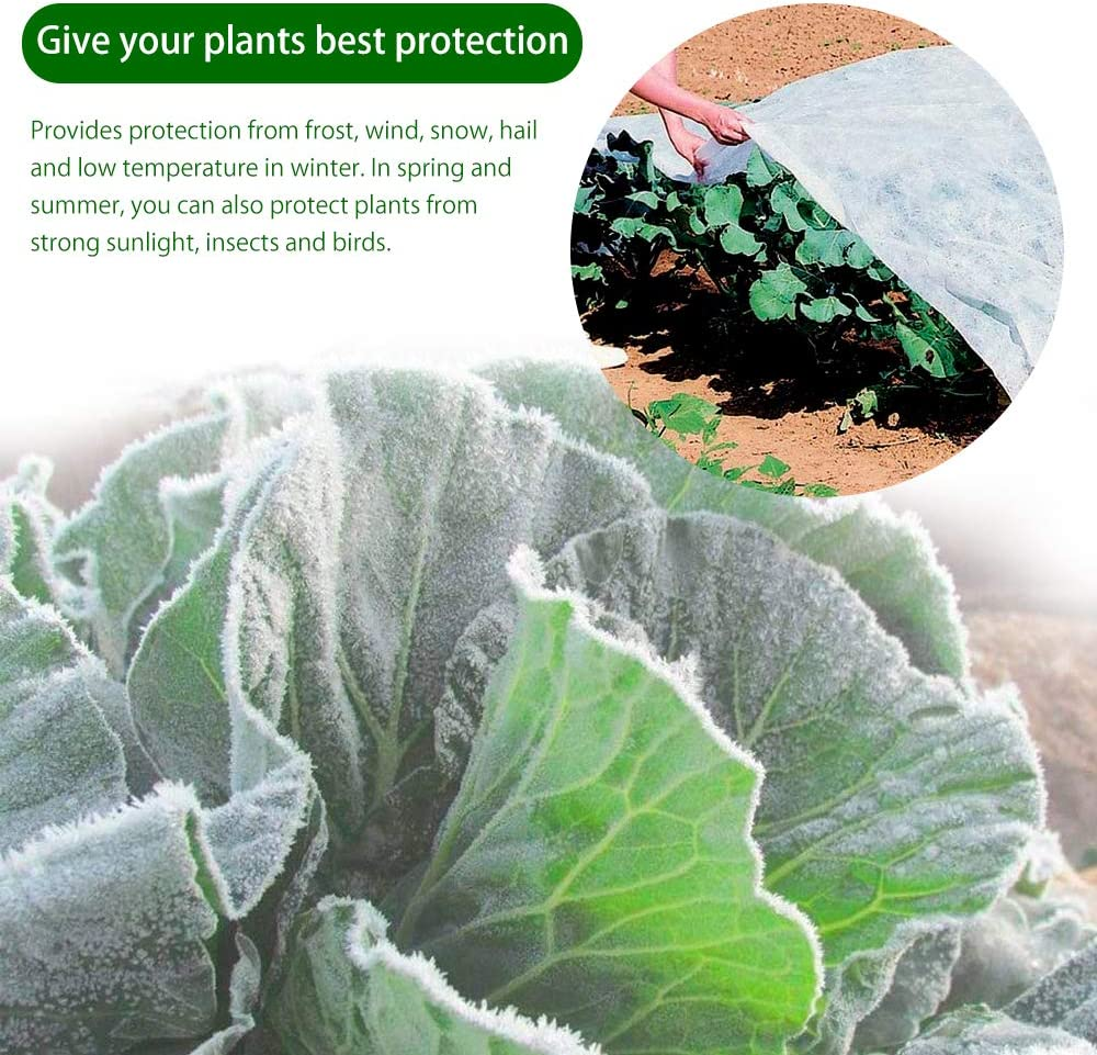 2.4*10M Garden Fleece Non-Woven Fabric Cover Frost Cold Wind Insect Sun Shade Cover Blanket for Shrubs /& Trees From Being Damaged Season Extension Frost Winter Plant Protection Bad Weather