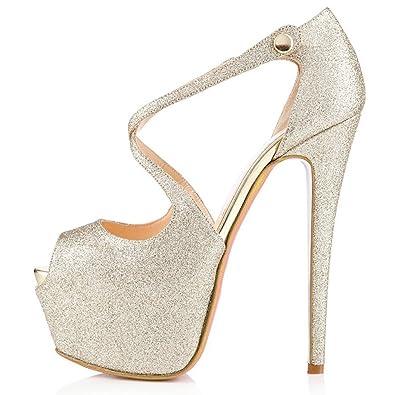 187cb6fb3380ba COOLCEPT Women Fashion Peep Toe Stiletto Sandals Pumps Platform High Heels  Wedding Bridal Party Dress Summer