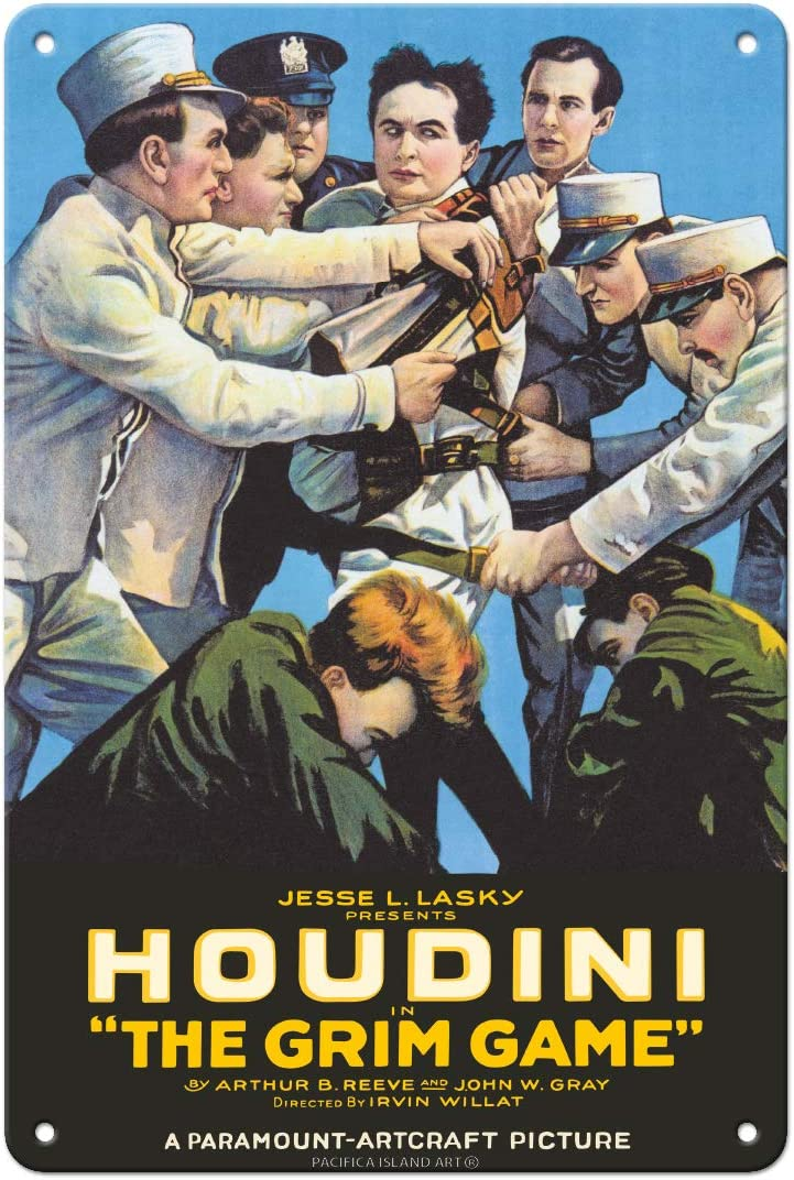 Pacifica Island Art Harry Houdini in The Grim Game - Vintage Film Movie Poster c.1919-8in x 12in Vintage Tin Sign