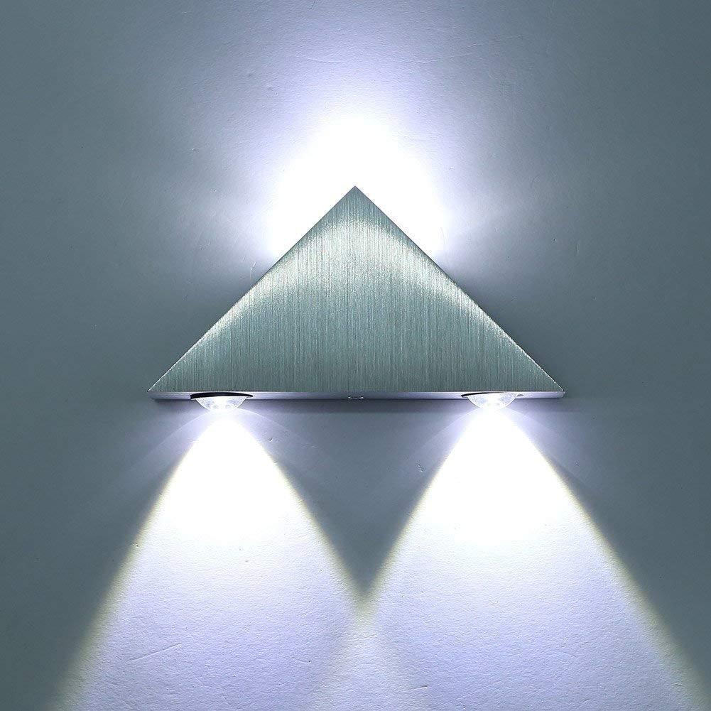 SISVIV Applique Murale LED interieur 3W en Triangle en Aluminium Lampe Moderne Designe Originale LED Eclairage D/écoratif /à /économie de Couloir Salon Chambre Blanc Froid