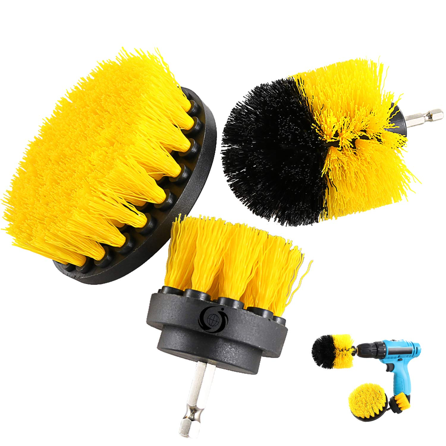 Drill Brush Attachment Kits, 3 Pieces Cleaner Scrubbing Brushes for All Purpose Bathroom Surface, Grout, Tub, Shower, Kitchen (Yellow) HENGQIANG