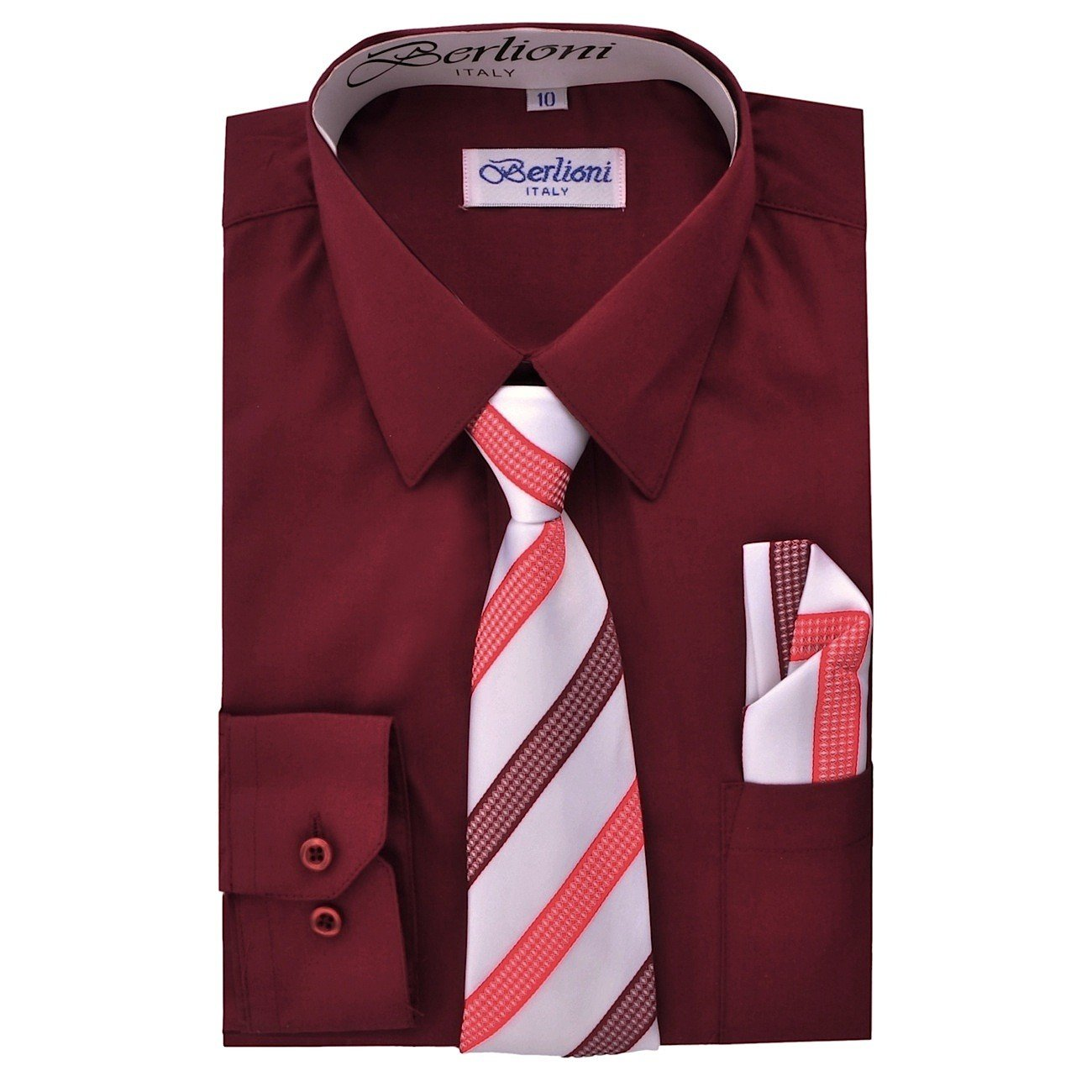Boy's Dress Shirt, Necktie, and Hanky Set - Burgundy, Size 14 Boy' s Dress Shirt 700A-BURG-14