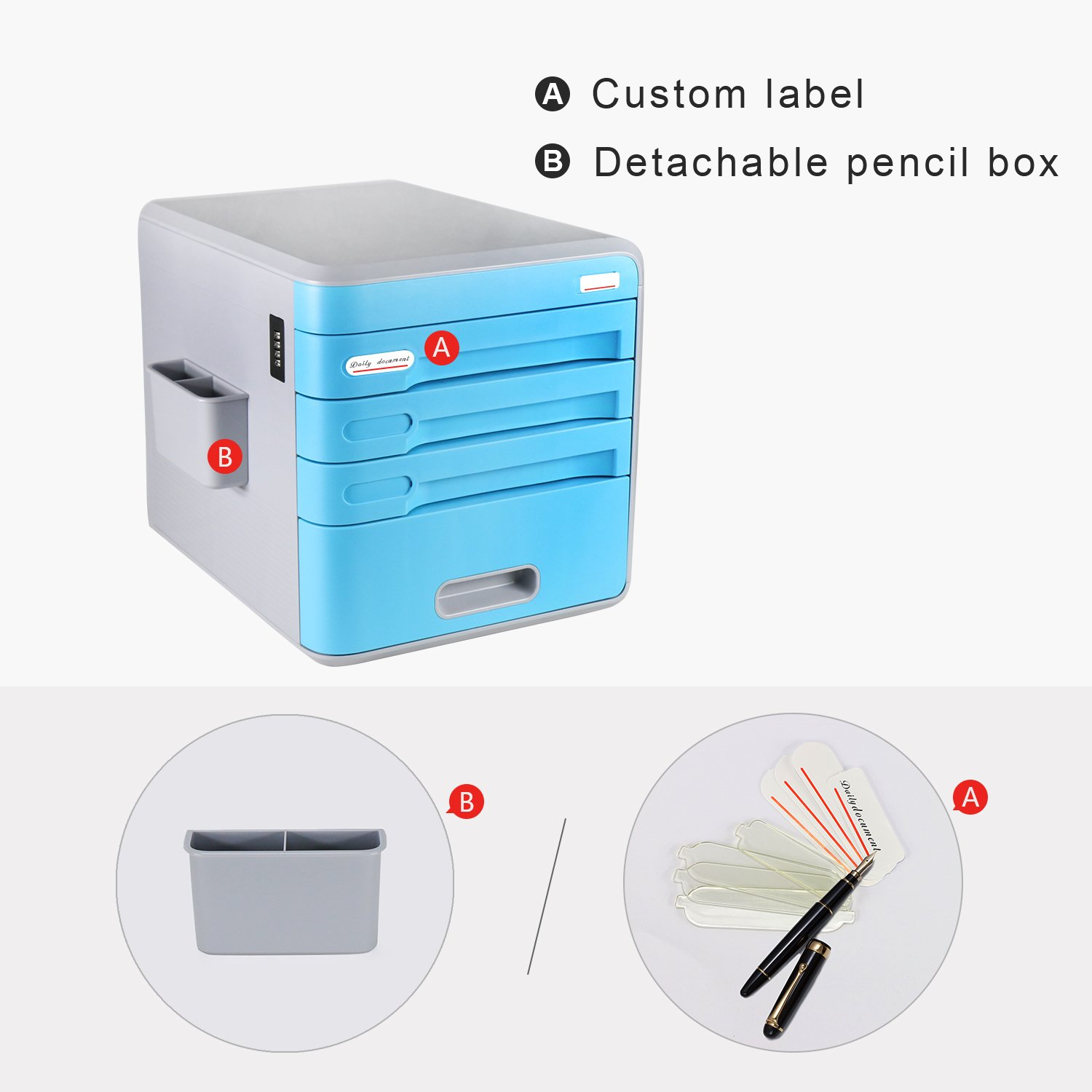 Plastic Storage Drawers Desk Storage Unit Organizer Lockable File Cabinet A4 Box For Office ,Blue