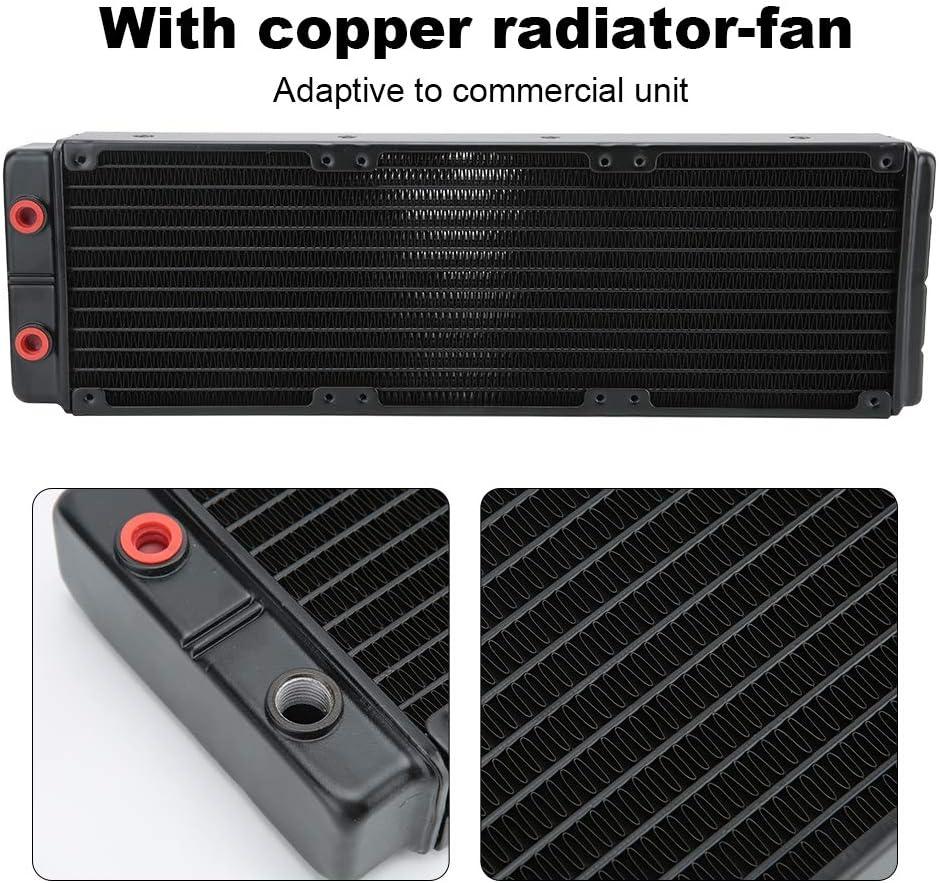 Black Yoidesu Water Cooling Radiator,24 Pipes Dual-Layer Radiator,45mm G 1//4 Thread Computer Radiator,Heat Exchanger Radiator with Fan