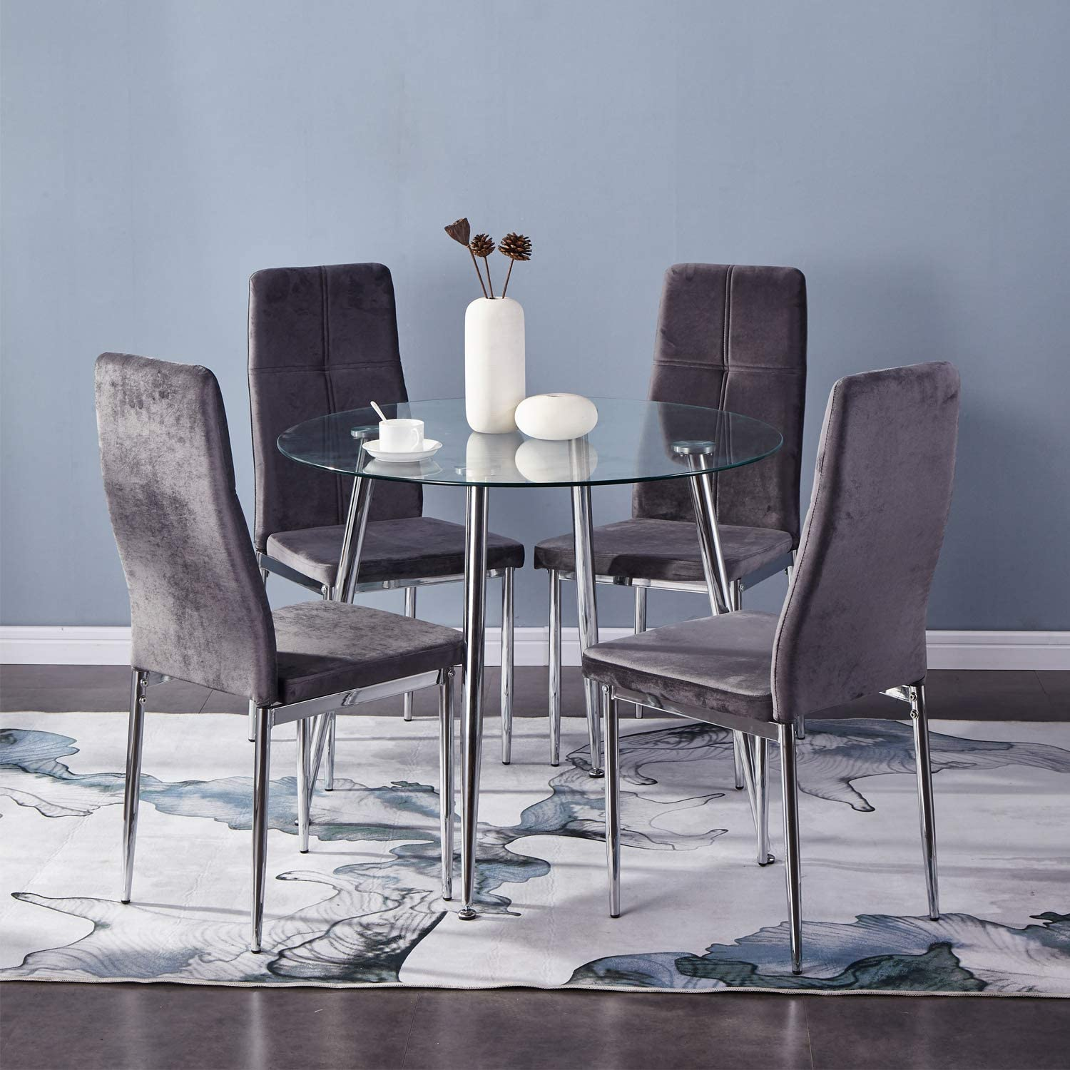 Small Dining Table Set For 4, Goldfan Small Round Dining Table And Chairs Set Of 4 Modern Glass Kitchen Dining Table Set With Chrome Legs For Living Room Office Furniture Amazon Co Uk Kitchen Home