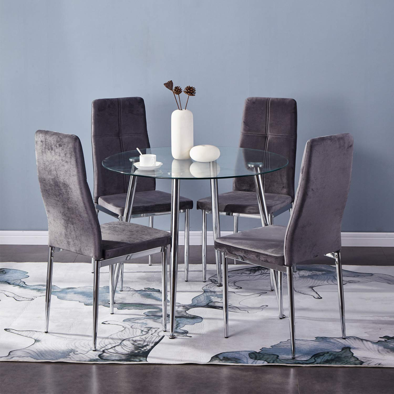 Goldfan Small Round Dining Table And Chairs Set Of 4 Modern Glass Kitchen Dining Table Set With Chrome Legs For Living Room Office Furniture Buy Online In Canada At Canada Desertcart Com Productid