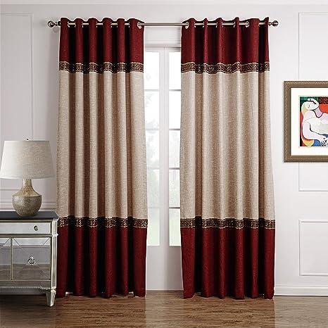 GWELL 1 Pièce Rideaux de Fenêtre Occultant Rideau Opaque Rideau de Salon  Chambre Rouge & Beige 175 x 140 cm