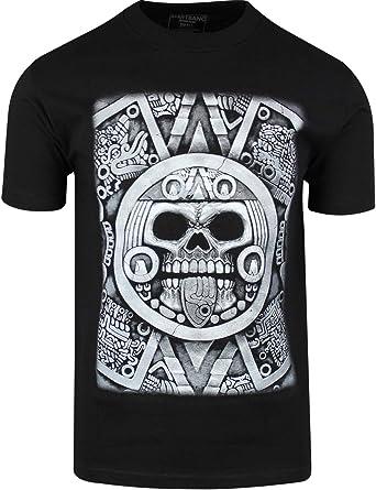 Aztec Calendario Calavera Camisa Sun Stone de Axayactl Día de los Muertos tee - Negro - Small: Amazon.es: Ropa y accesorios