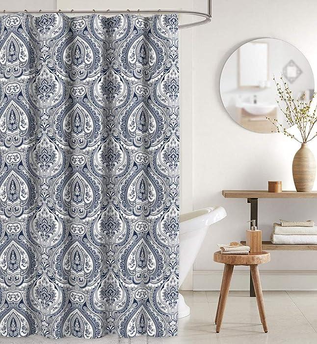CHD Home Navy Blue Grey White Shower Curtain: Elegant Fabric Floral Damask Design