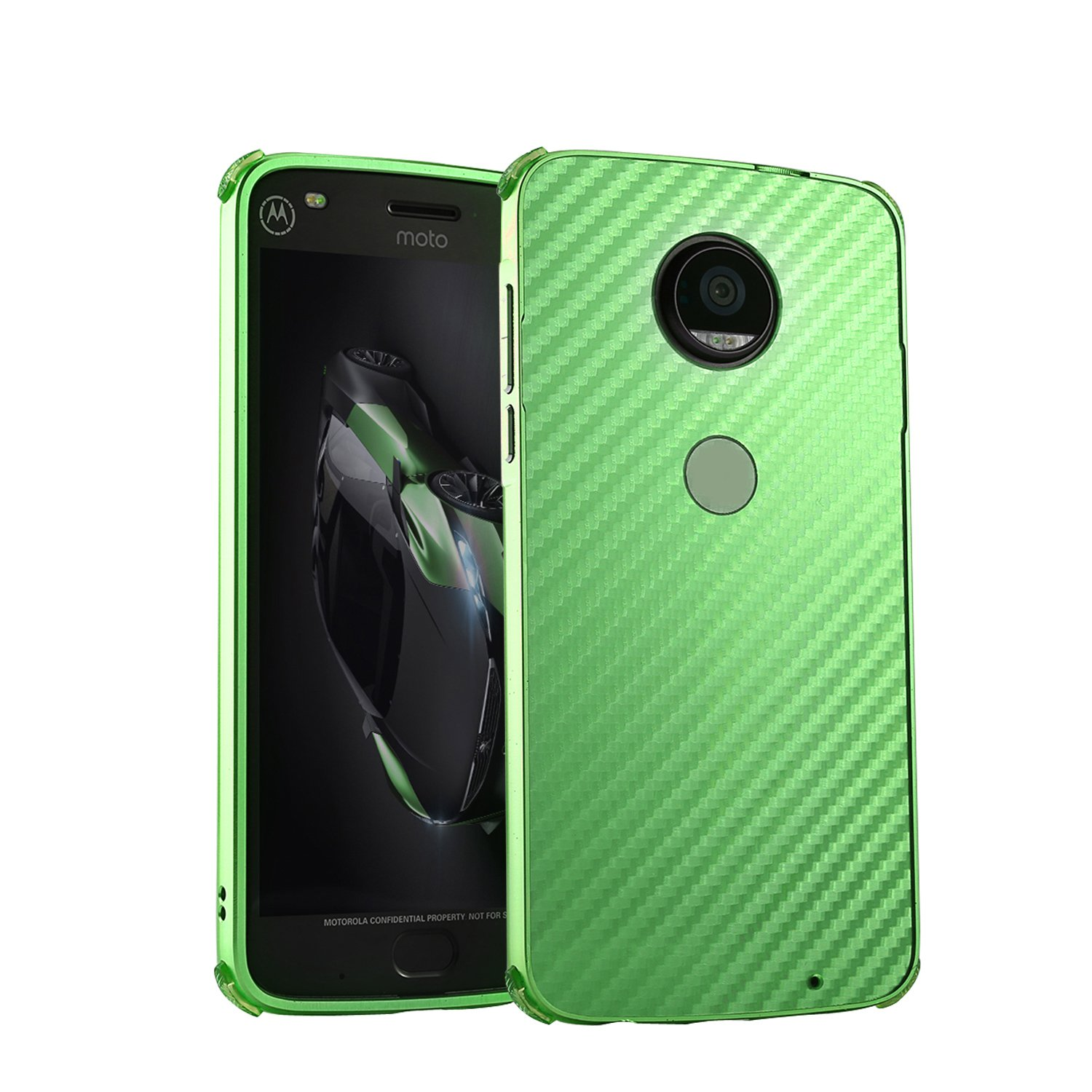 DAMONDY Moto G6 Plus Case, Luxury Carbon Fiber Design Ultra thin Imitation Metal Brushed Premium Aluminum Shockproof Protective Bumper Hard Back Cover Case for Motorola Moto G6 Plus-Green by DAMONDY