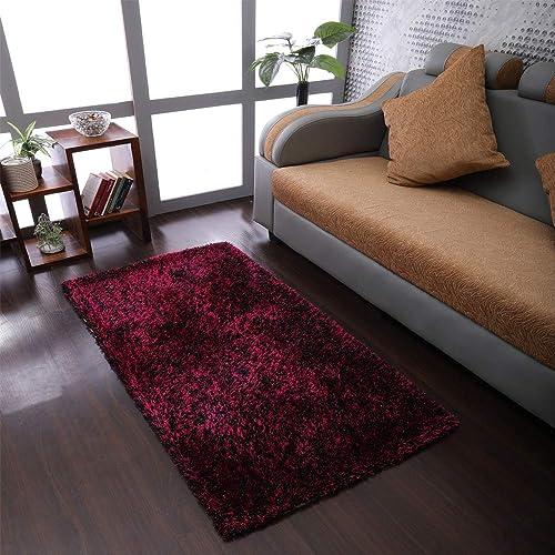 Rugsotic Carpets Hand Tufted Shag Polyester 9'x12' Area Rug Solid Violet Black K00111