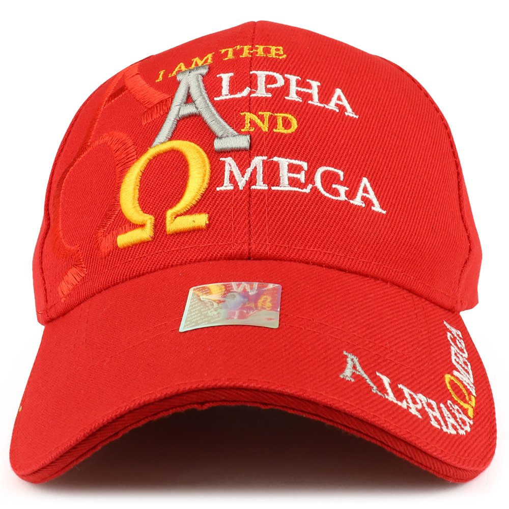 eafd77e1e5426 Trendy Apparel Shop Alpha and Omega Embroidered Christian Baseball Cap - Red