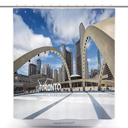 Amazon.com: vanfan-Durable Shower Curtains Toronto City Hall And ...