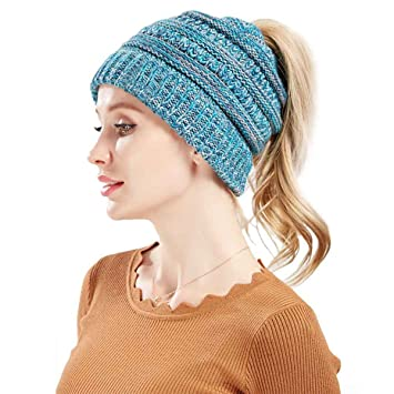 f2d2bc08a5830 Image Unavailable. Image not available for. Color  Mookiraer Soft Stretch Ponytail  Messy High Bun BeanieTail Womens Beanie Solid Ribbed Knit ...