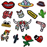 Zeroyoyo 14pcs Assorted Novelty Unicorn Flower Planet Cactus DIY Iron-on or Sew-on Embroidered Craft Motif Applique Patch