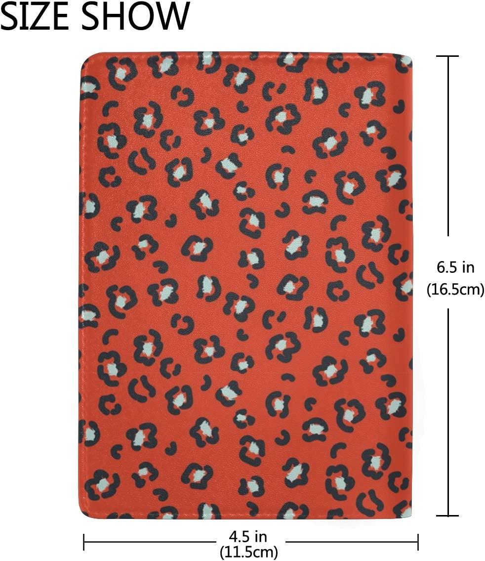 Red Circle Leopard Print Leather Passport Holder Cover Case Blocking Travel Wallet