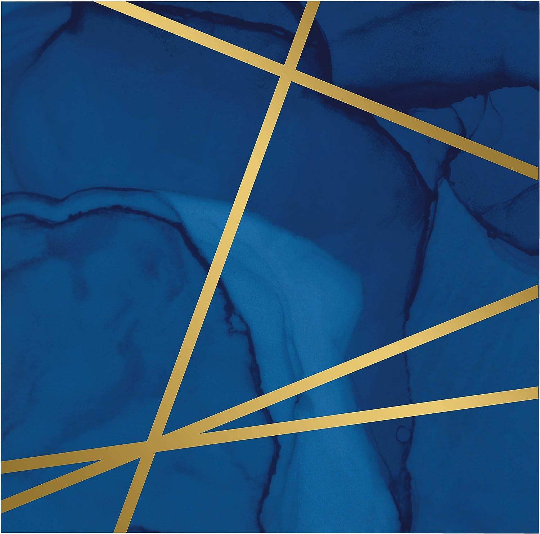 Navy Blue and Gold Foil Beverage Napkins, 48 ct