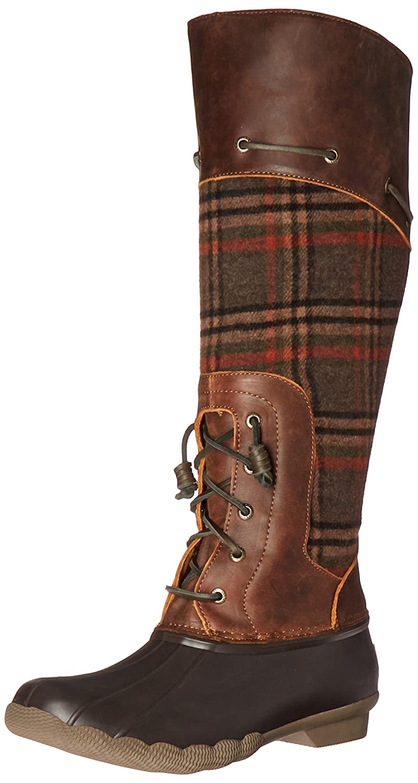 Amazon.com | Sperry Top-Sider Women's Saltwater Sela Brown Wool Plaid Rain  Boot | Mid-Calf