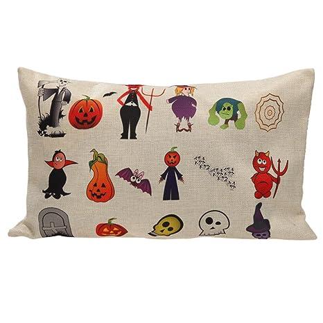 Amazingdeal365 Almohada de Algodón Cómodo de Dibujos Animados de Halloween Impresas Mancuernas 30 X 50 (