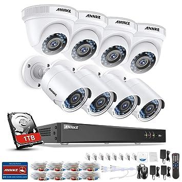 SANNCE Sistema de vigilancia Kit de 8 CCTV Cámaras de seguridad Metal (Onvif H.