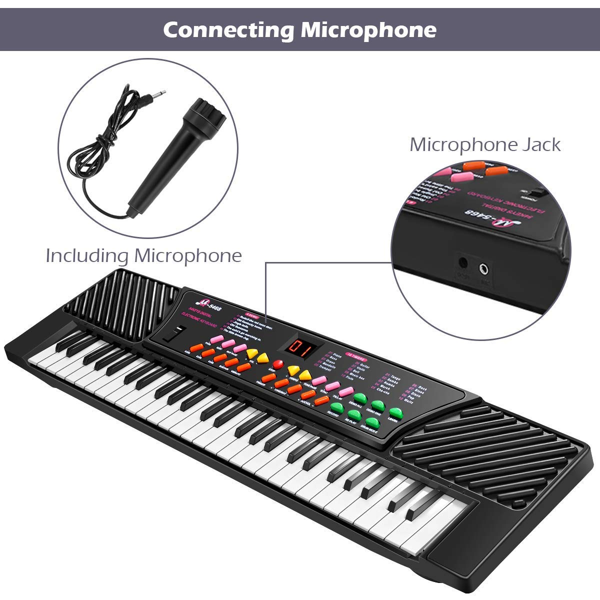 Tangkula 54-Key Electronic Keyboard for Kids Beginners with Mic & Adapter Including LED Digital Display, Learning Function & Demo Songs Standard Accordion Keys Piano Keyboard (Black) by TANGKULA (Image #7)