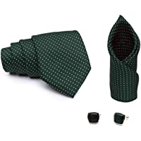 COCO CHANEL Men's Silk and Cotton Necktie with Pocket Square, Lapel Pin and Cufflinks (Green, Free Size)