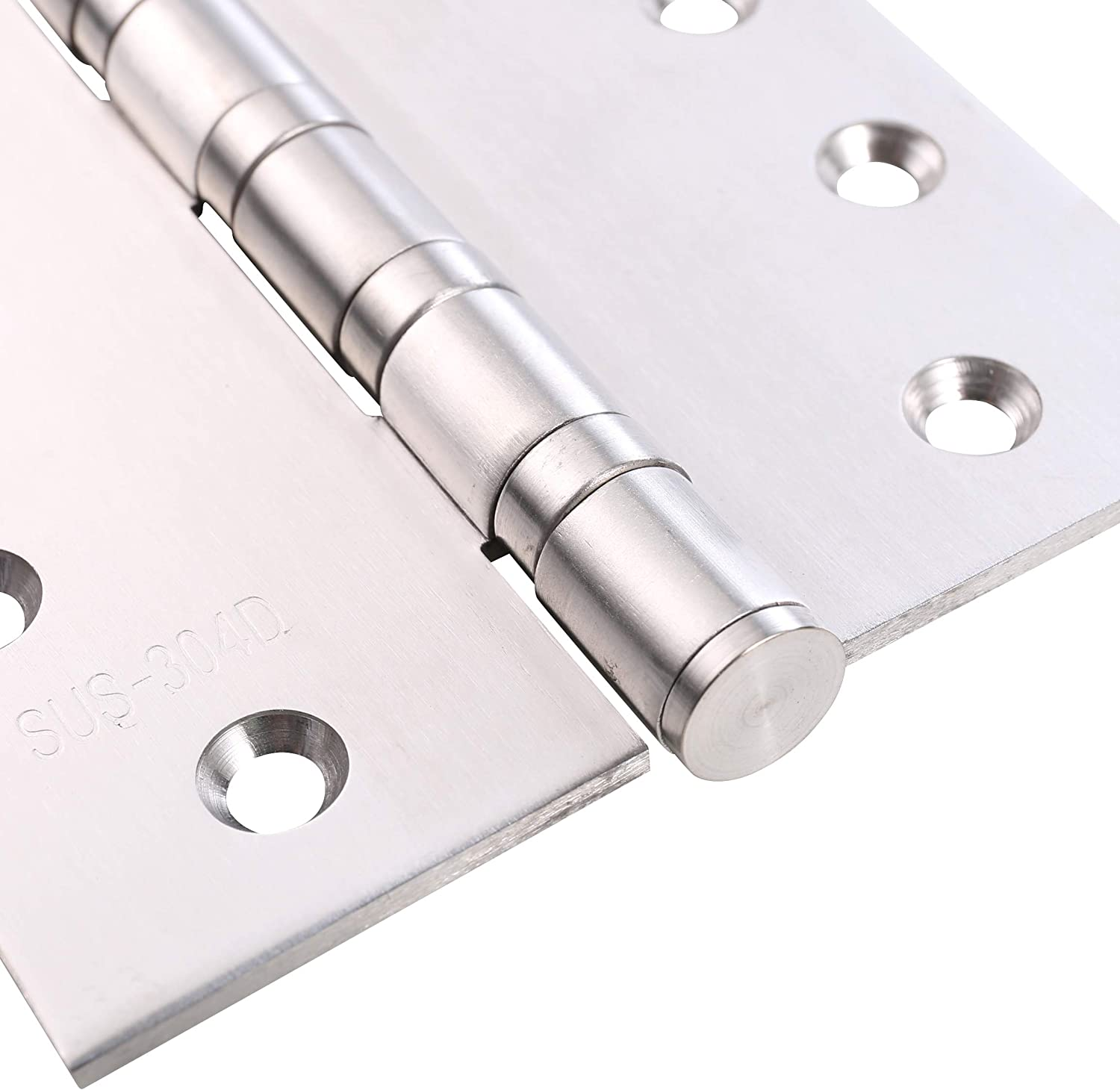 Pack of 2 Squared Conners UHPPOTE Stainless Steel Door Hinges 4inches x 4inches with Soft Close Ball Bearing Brushed Finish
