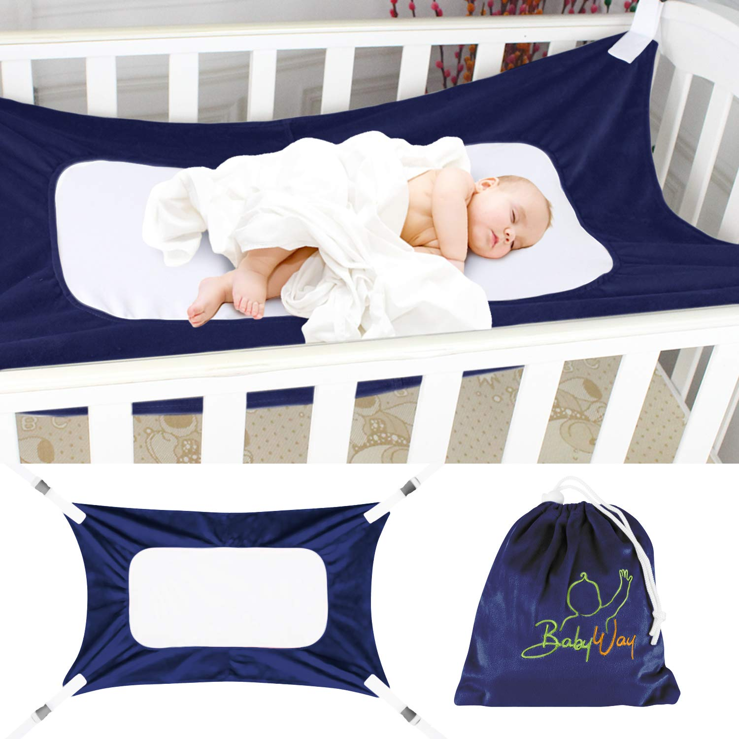 The BabyWay Navy Blue Baby Crib Hammock and in Bed Bassinet | Hanging Mesh Sleep System for Womb Like Comfort | Soft, Breathable Safety Supports Newborn Infants | Storage Bag