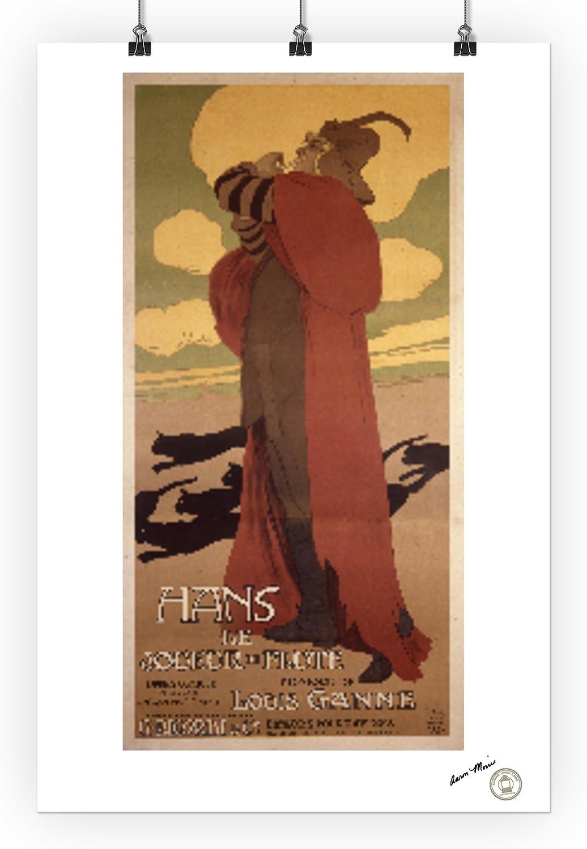 Hans 1907 Le Joueur de Flute Vintage Poster artist: Metlicovitz 36x54 Giclee Gallery Print, Wall Decor Travel Poster Italy c