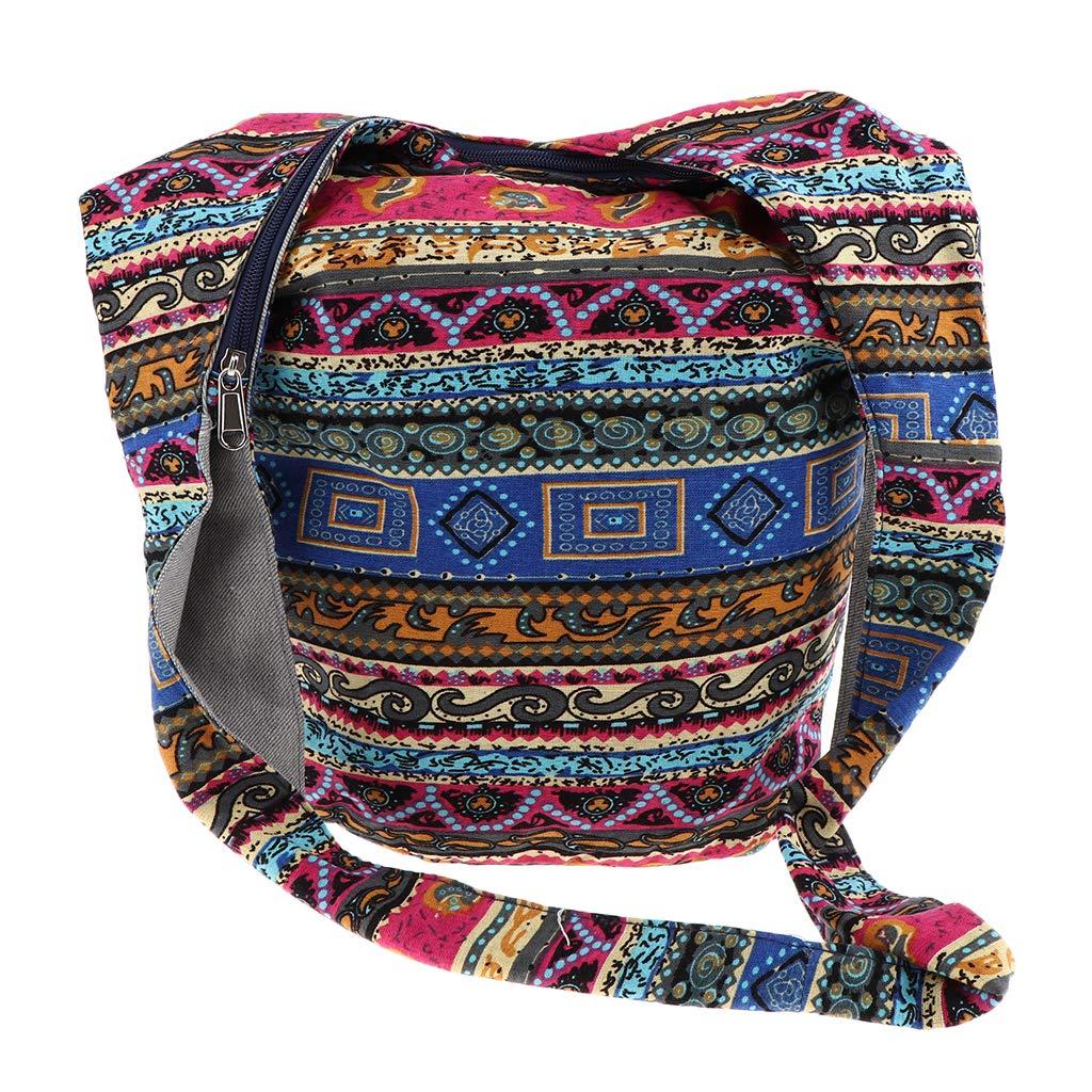 Prettyia Hippie Crossbody Bag Thai Top Zip Hobo Sling Bag Handmade Hipster Messenger Bag - Multicolor, 35 x 18 x 32 cm