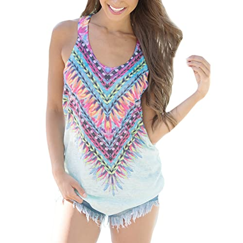 21d0ed2359e6d Elapsy Womens Tribal Print Sleeveless Loose Tunic Tank Tops Casual Blouses  Vest T Shirt