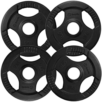 BodyRip Tri Grip Discos para barra de pesas, recubrimiento de goma, 5 kg, 4 unidades: Amazon.es: Deportes y aire libre