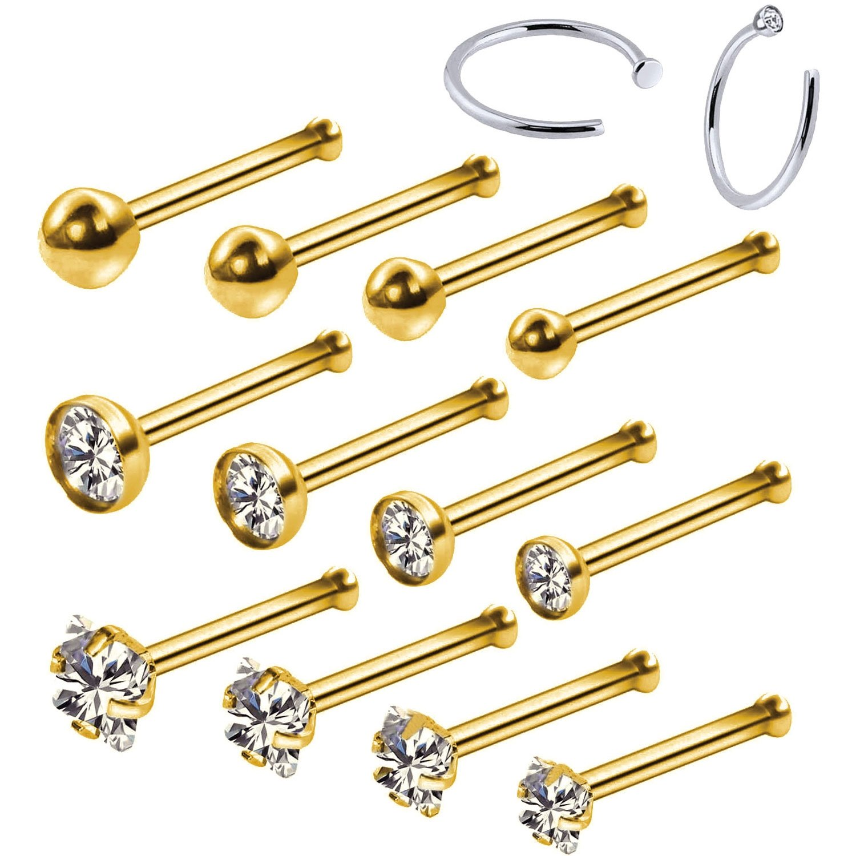 BodyJ4You 14PC Nose Hoop Rings 20G Stainless Steel Goldtone Nose Bone Stud Pin Piercing Jewelry (0.8mm)