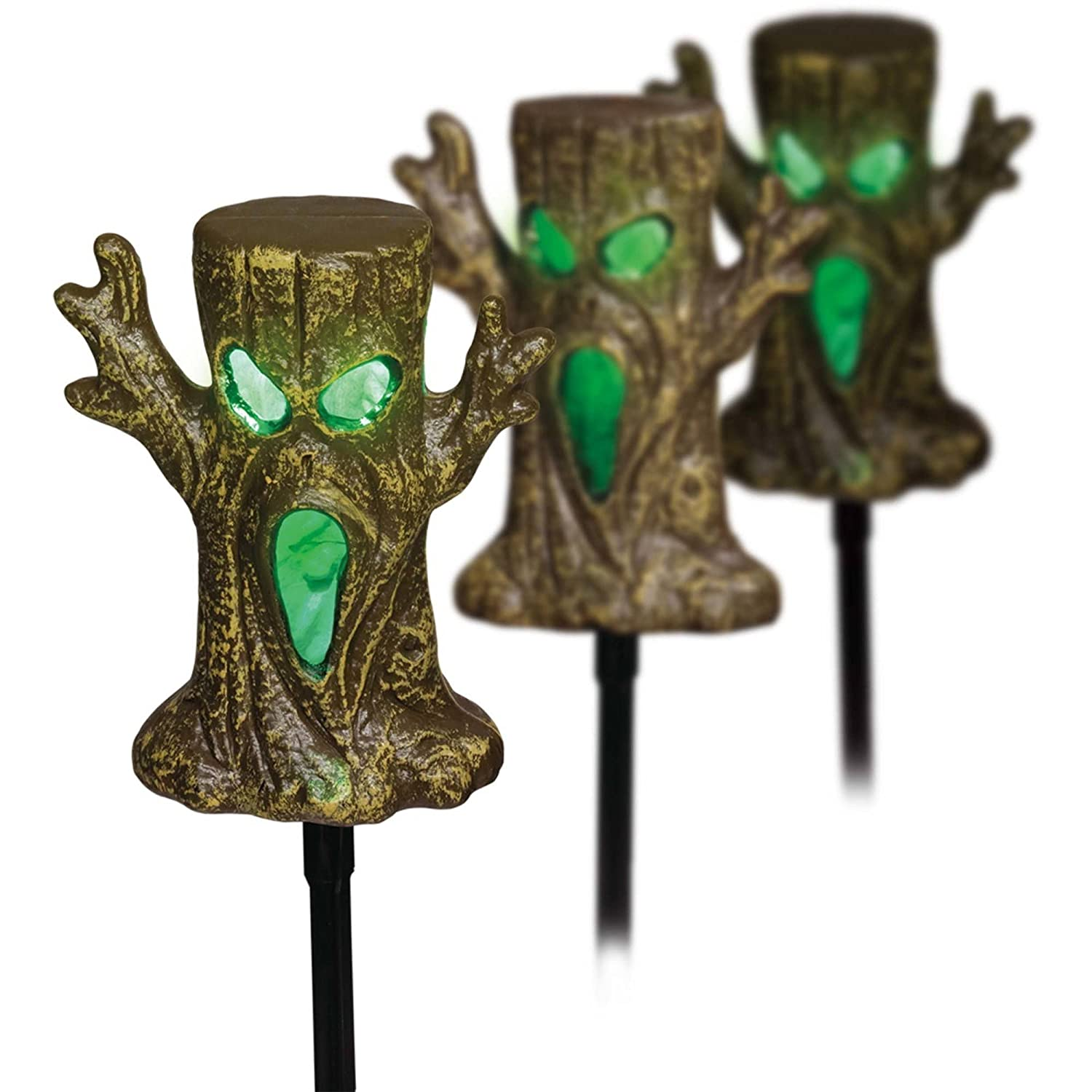 Light Up Spookie Trees Lawn Stakes Halloween Yard Decorations - LED Lights and Sound Sensor - set of 3 Trees China 75-265