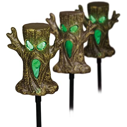 Halloween Yard Stakes.Light Up Spookie Trees Lawn Stakes Halloween Yard Decorations Led Lights And Sound Sensor Set Of 3 Trees