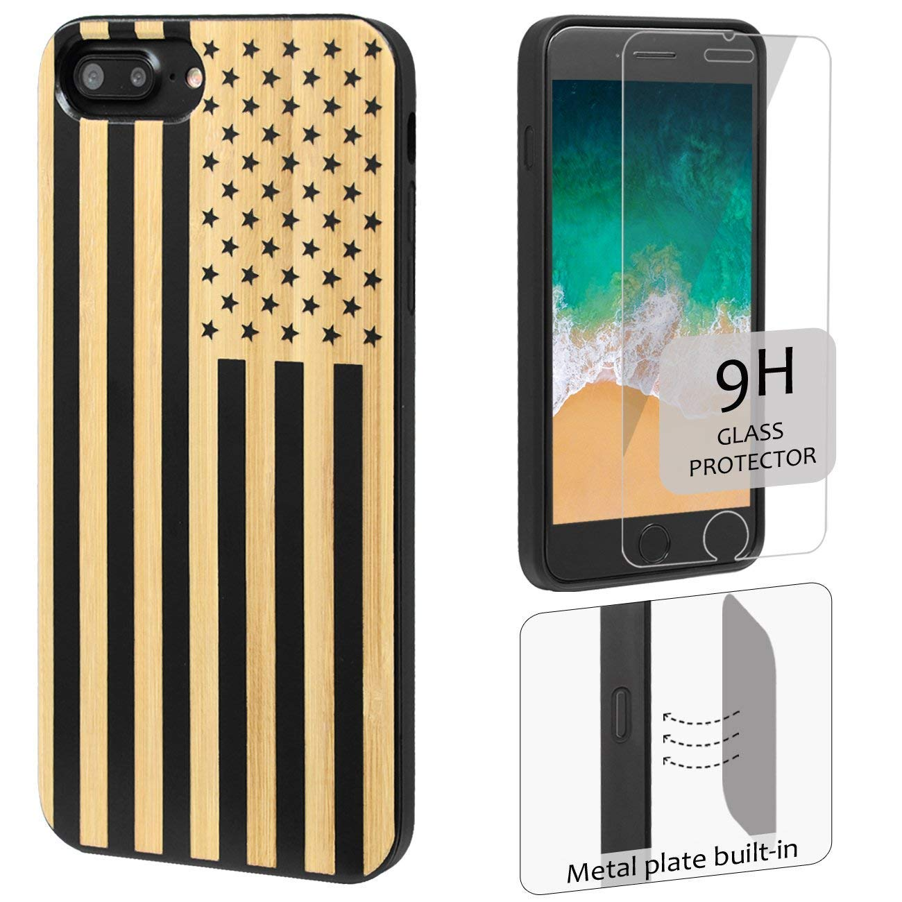 iProductsUS Wood Phone Case Compatible with iPhone 8 7 Plus (ONLY) and Screen Protector-Black Bamboo Phone Cases Engraved US Flag,Built-in Metal Plate,TPU Rubber Protective Shockproof Covers (5.5'')