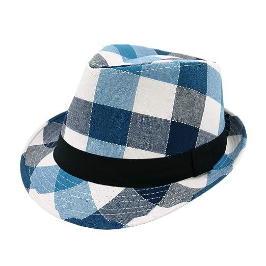 de63a1ed Premium Multi Color Plaid Stitch Black Band Fedora Hat, Blue at ...