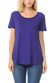 5c923863424 Shamaim Womens V-Neck Modal & Rayon Short Sleeve Long T-Shirt Tunic ...