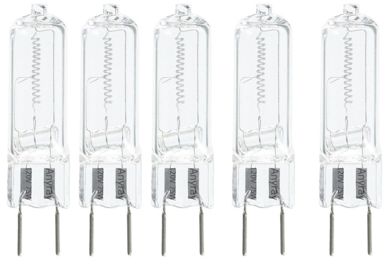 5-lamps G8 120V 75W 75 Watt Halogen Light Bulbs G8 Base