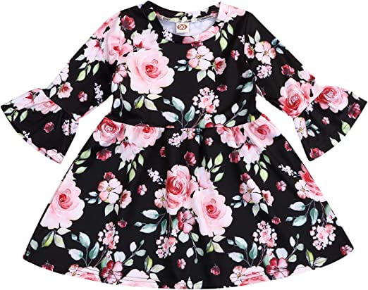Toddler Baby Girl Kids Princess Party Dress Flower Print Outfits Clothes Dresses