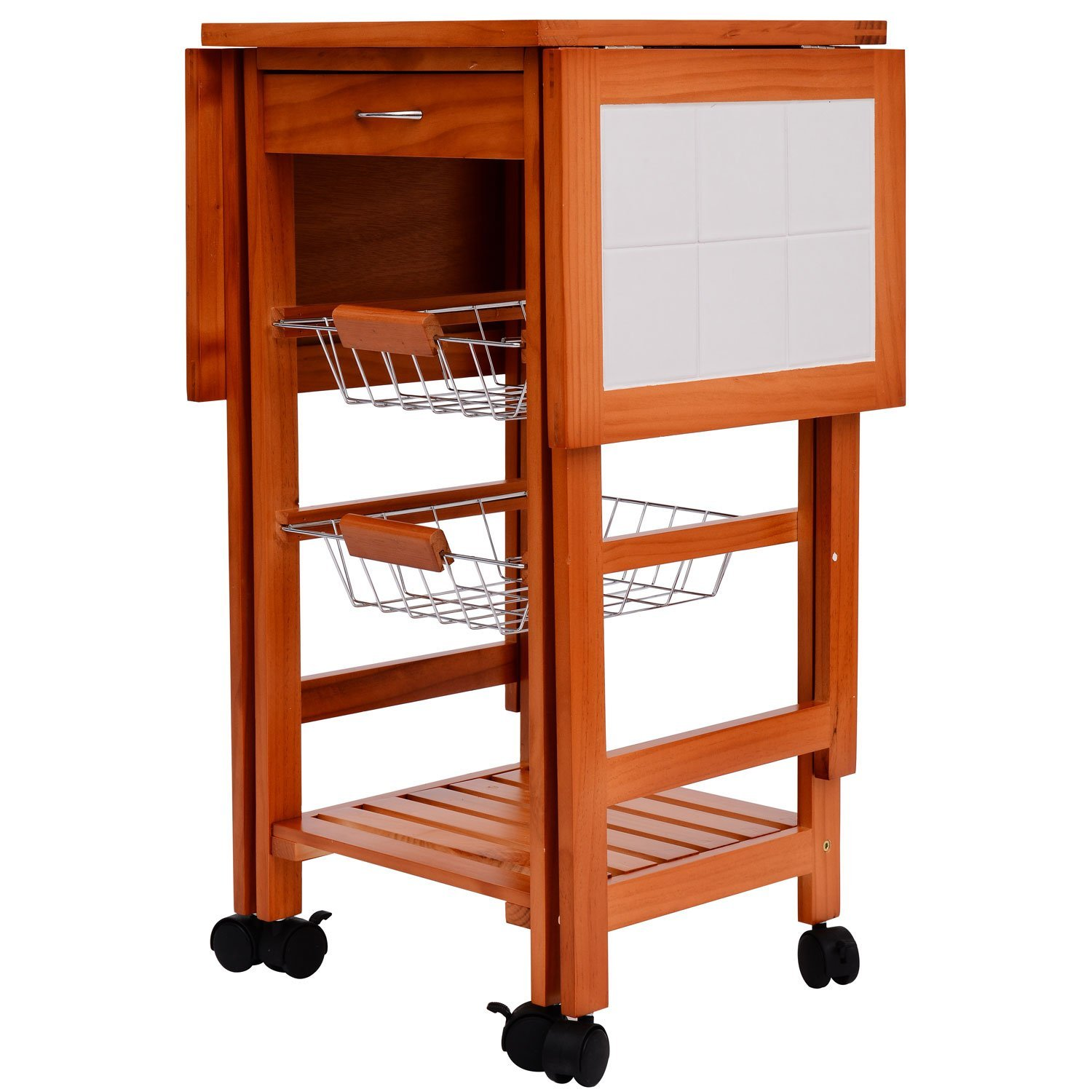 Amazon.com   HomCom Portable Rolling Tile Top Drop Leaf Kitchen Trolley Cart    Kitchen Islands U0026 Carts