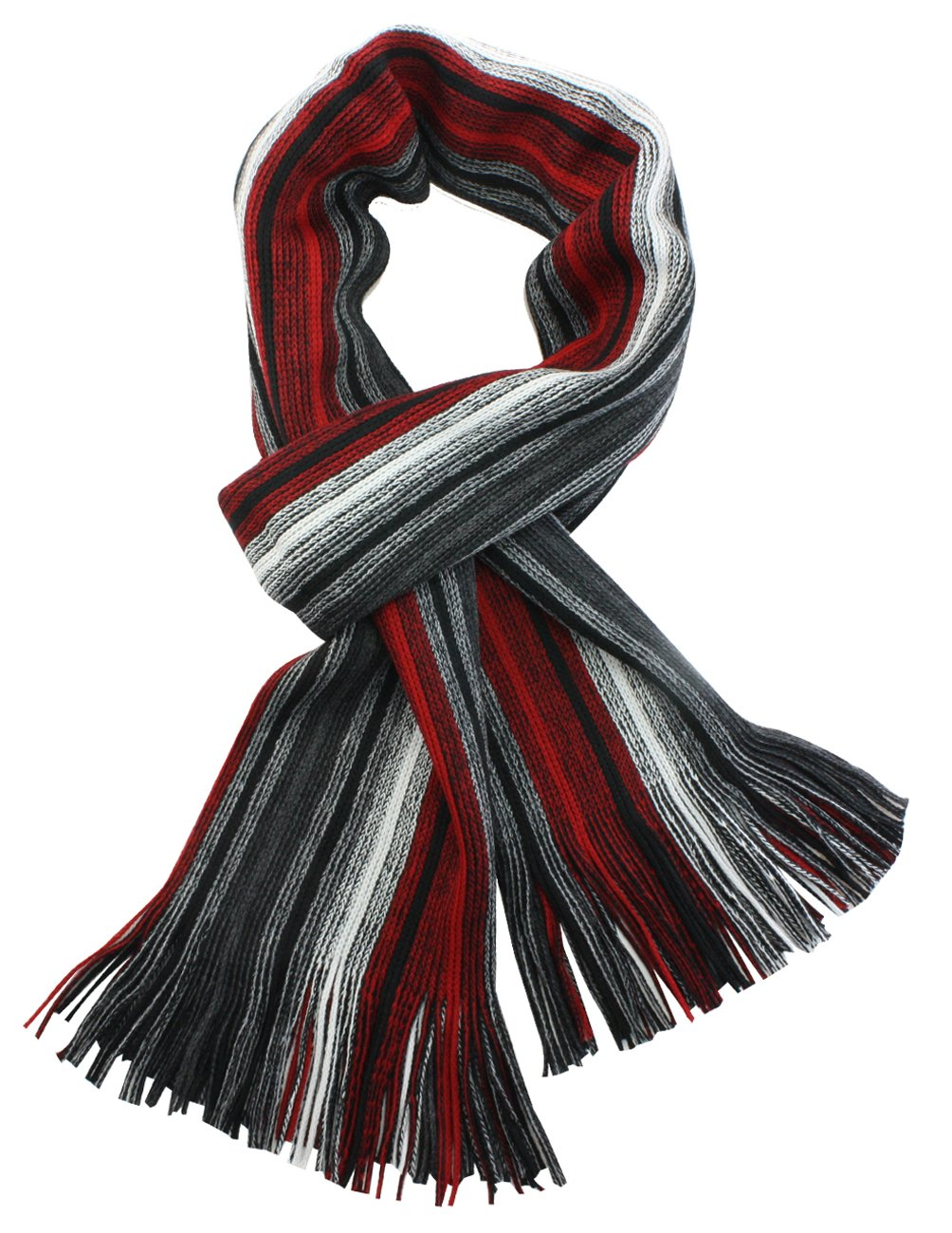 Dahlia Men's 100% Fine Acrylic Colorful Striped Knit Long Scarf - Red