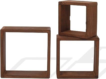 Rebecca Mobili Juego 3 estantes Cuadrados en Madera Clara Natural, estantes para Pared Cubo, estantería para Dormitorio y salón - Medidas: 26 x 26 x 9 ...