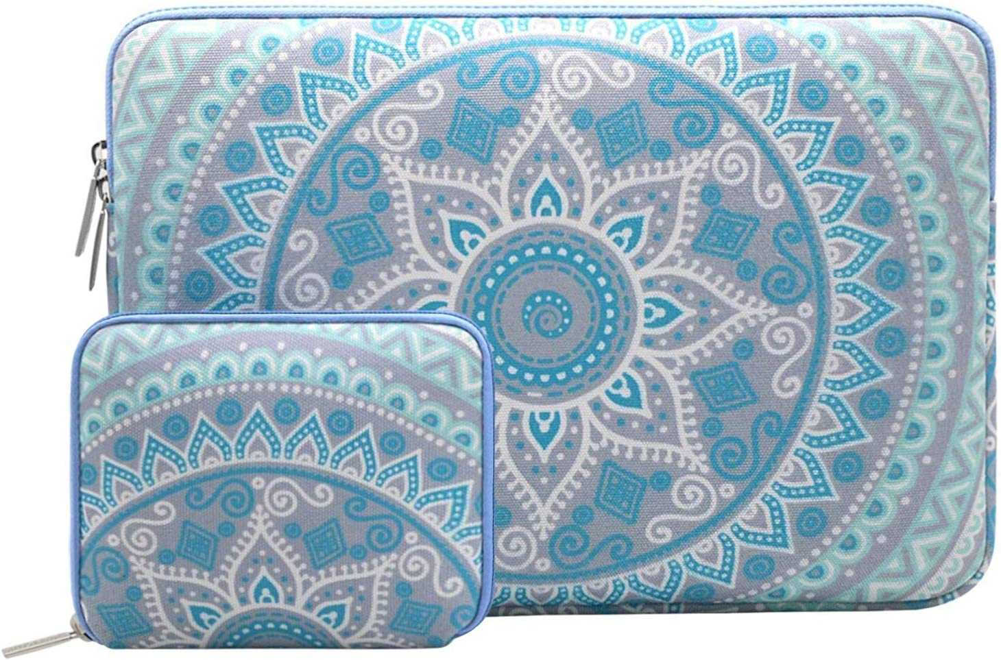 MOSISO Laptop Sleeve Compatible with 12.3 inch Microsoft Surface Pro 6/5/4/3, 11-11.6 inch MacBook Air, Ultrabook with Small Case, Canvas Mandala Pattern Carrying Bag, Mint Green and Blue