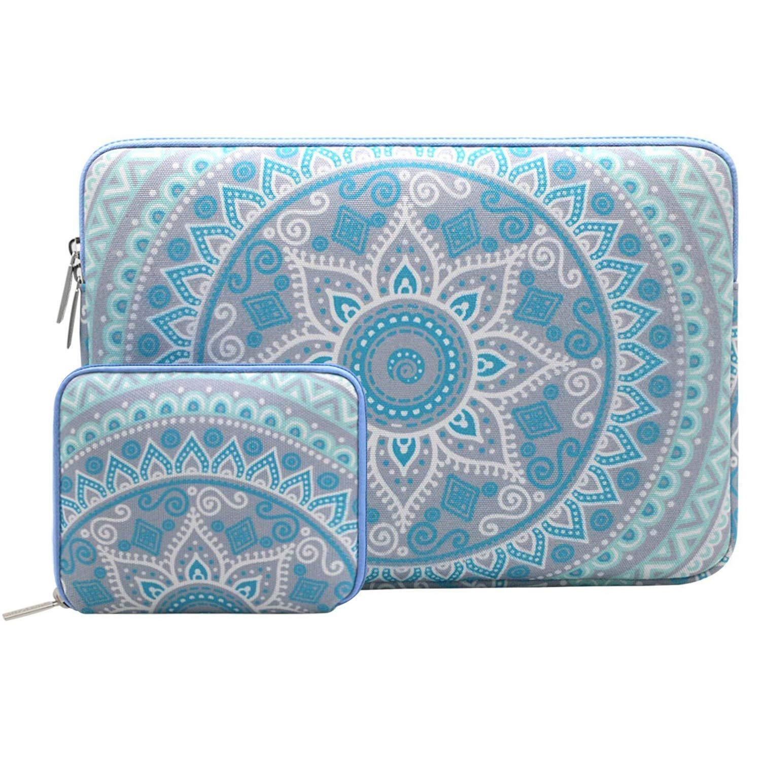 MOSISO Laptop Sleeve Compatible 12.3 inch Microsoft Surface Pro 6/5/4/3, 11-11.6 Inch MacBook Air, Ultrabook Tablet with Small Case, Canvas Mandala Pattern Carrying Bag Cover, Mint Green and Blue by MOSISO