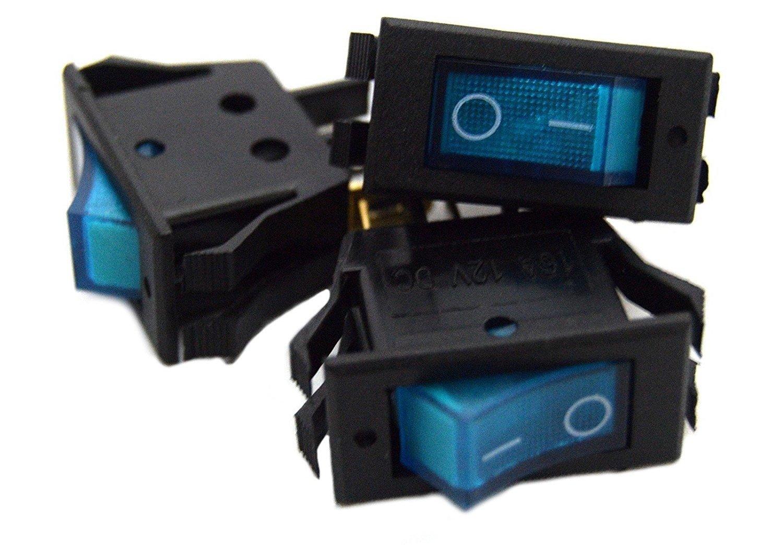 3 pack 12 Volt Lightning Blue LED Rocker Mini Switch On Off Car Automotive Nippon America