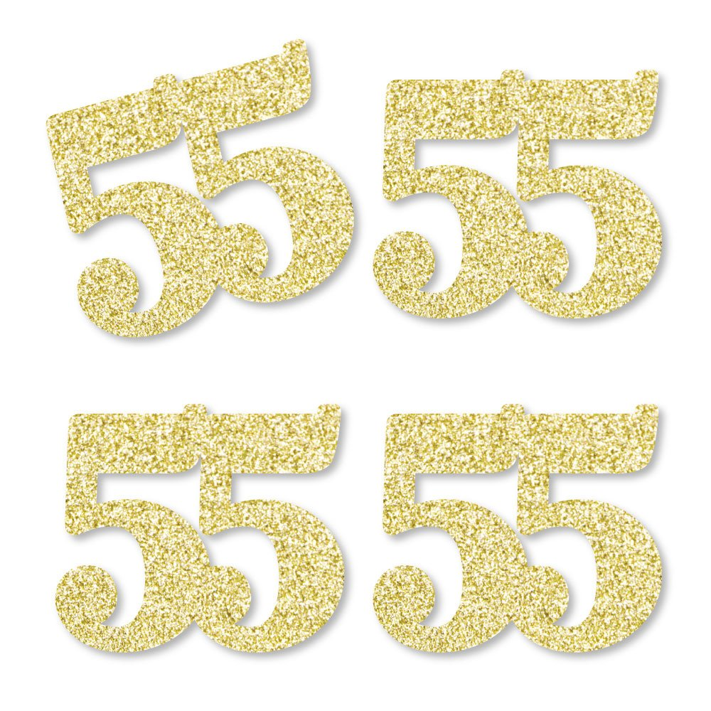 Gold Glitter 55 - No-Mess Real Gold Glitter Cut-Out Numbers - 55th Birthday Party Confetti - Set of 24 by Big Dot of Happiness