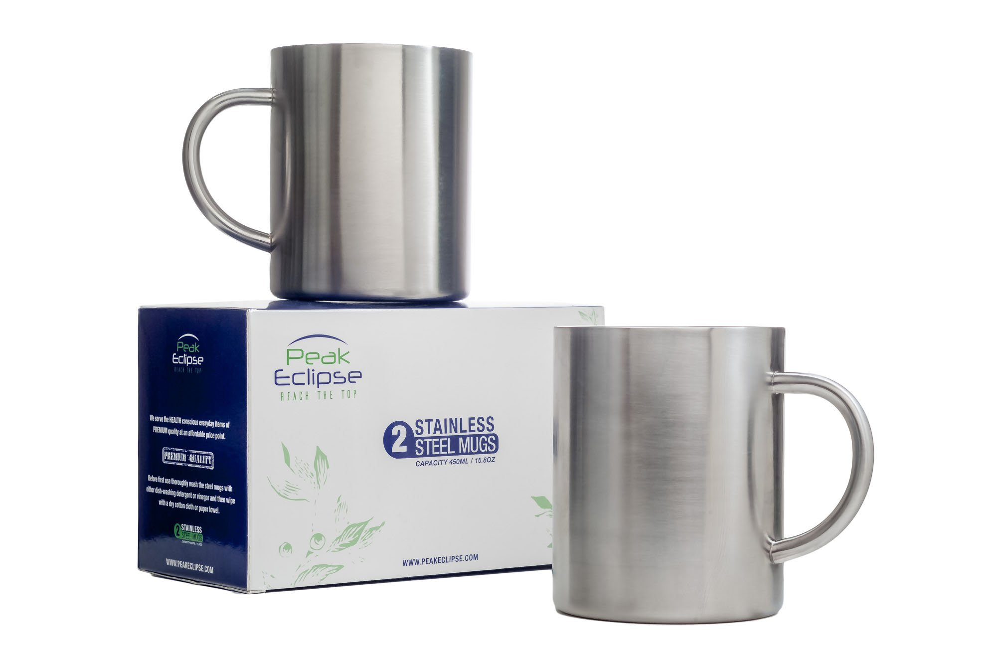 Stainless Steel Mugs 15 oz - 450ml - Set of 2 - Double Wall Insulated - Perfect for Coffee Tea Beer Travel - Keeps drinks Hot or Cold for longer