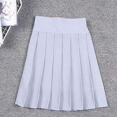 Haucalarm Falda Plisada Chica, Mini Falda de Cintura elástica con Pantalones Cortos (Color : Light Grey, tamaño : M): Hogar