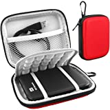 Lacdo EVA Shockproof Carrying Case for Western Digital My Passport Studio Ultra Slim Essential WD Elements SE Portable 500GB 1TB 2TB Mac USB 3.0 Portabl 2.5 inch External Hard Drive Travel Bag, Red